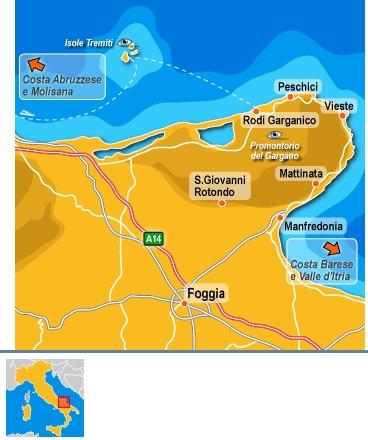 Hotels in tutto il Gargano, mappa delle localita'