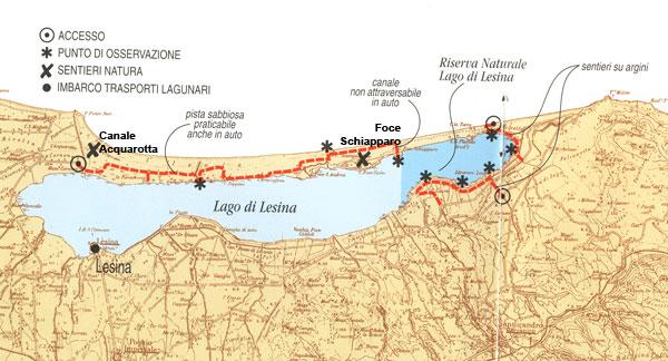 cartina lago di Lesina Gargano